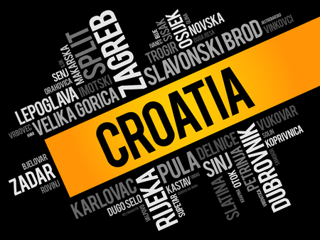List of cities and towns in Croatia, word cloud collage, business and travel concept background Stock Vector - 123500505