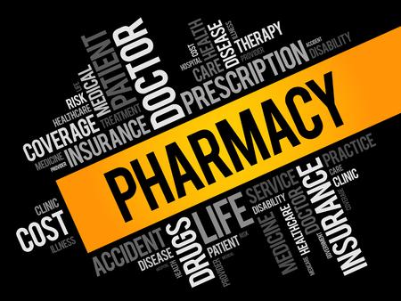 Pharmacy word cloud collage, health concept background Vektorové ilustrace