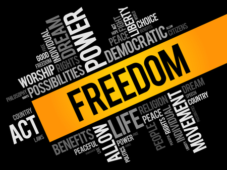 Freedom word cloud collage, social concept background