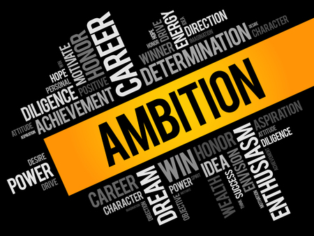 Ambition word cloud collage, business concept background