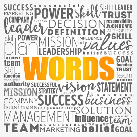 PALABRAS - collage de nube de word, fondo del concepto de negocio
