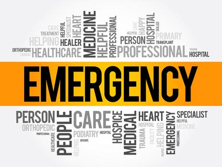 Collage de nuage de mot d'urgence, fond de concept de soins de santé