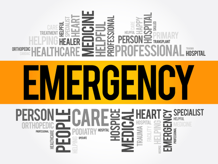 Emergency word cloud collage, healthcare concept background Ilustração