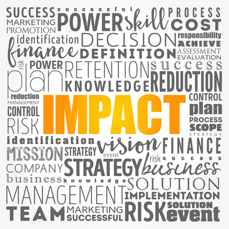 IMPACT Word Cloud collage, business concept background Illustration