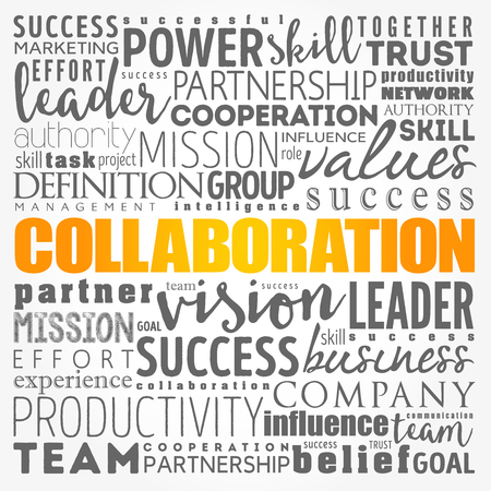 COLLABORATION word cloud collage, business concept background Ilustrace