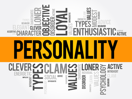 Personality word cloud collage , social concept background Illusztráció
