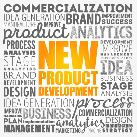 New product development word cloud collage, business concept background