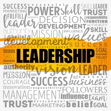 리더십 단어 구름 콜라주, 비즈니스 개념 배경