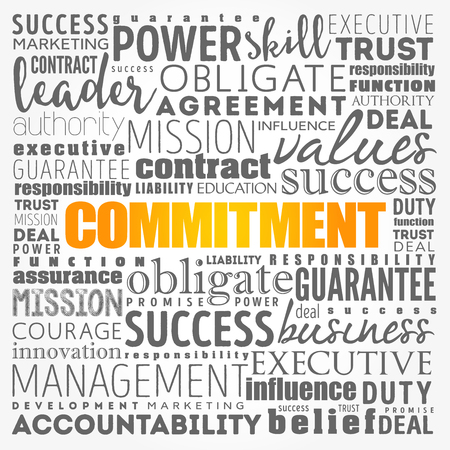 Commitment word cloud collage, business concept background 矢量图像
