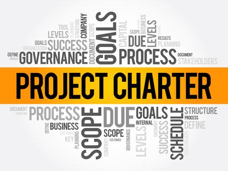 Collage de nuage de mot de la charte de projet, termes commerciaux tels que méthode, processus, fond de concept Vecteurs