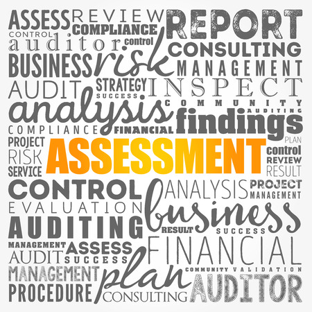 ASSESSMENT word cloud collage, business concept background Banque d'images - 121192076