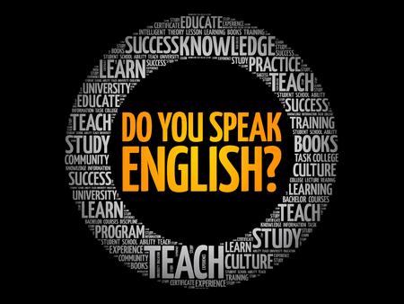 Parlez vous anglais? nuage de mot, concept d'entreprise d'éducation Vecteurs