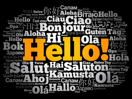 Hello word cloud collage in different languages of the world Çizim