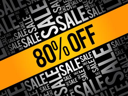 80% de descuento en venta palabra nube collage, fondo del concepto de negocio