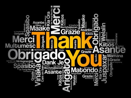Gracias nube de palabras en diferentes idiomas, concepto de fondo