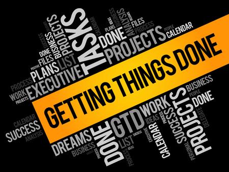 Dinge erledigen Word Cloud, Geschäftskonzept Hintergrund