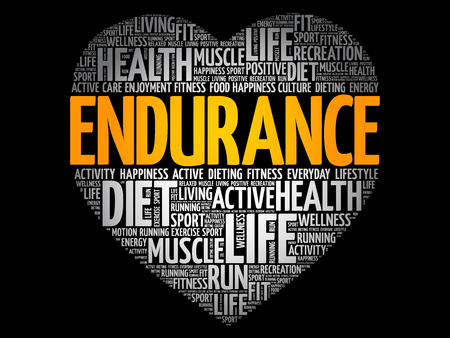 ENDURANCE heart word cloud, fitness, sport, health concept