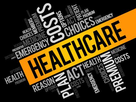 Health Care word cloud collage, health concept background Vektorové ilustrace