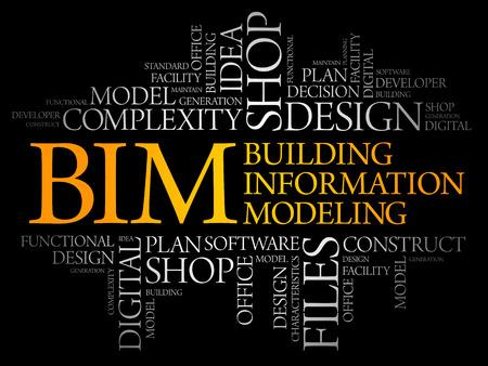 BIM - bâtiment nuage de mot de modélisation de l'information, concept d'entreprise