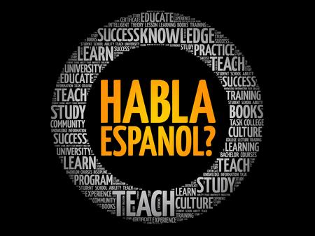Sprechen sie spanisch? (Spanisch sprechen?) Wortwolke, Bildungsgeschäftskonzept Vektorgrafik