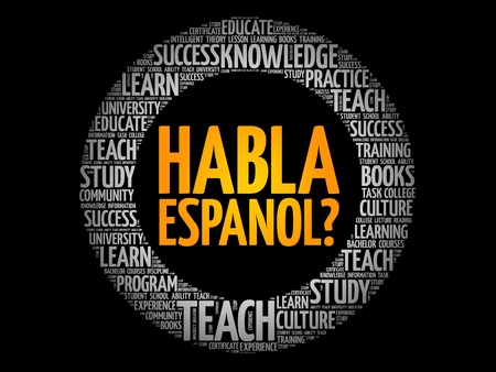 Habla Espanol? (Speak Spanish?) word cloud, education business concept Illustration