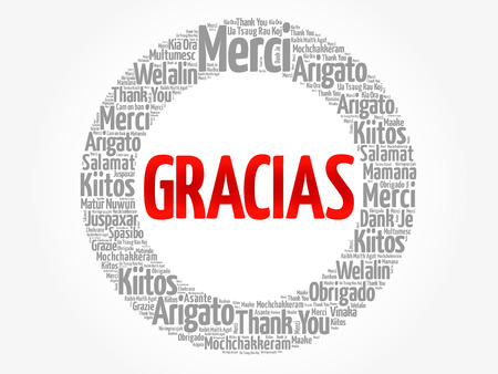 Gracias (Thank You in Spanish) word cloud in different languages, concept background  イラスト・ベクター素材