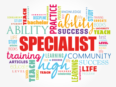 SPECIALIST word cloud collage, education concept background