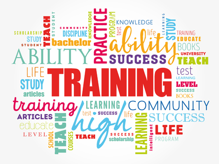 TRAINING word cloud collage, education concept background Çizim