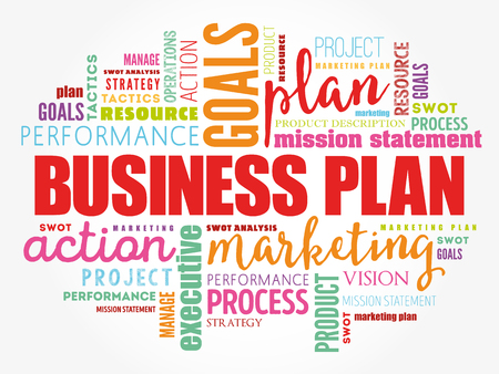 Business plan word cloud collage, business concept background 免版税图像 - 123359041