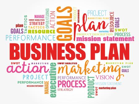 Geschäftsplan-Wortwolkencollage, Geschäftskonzepthintergrund