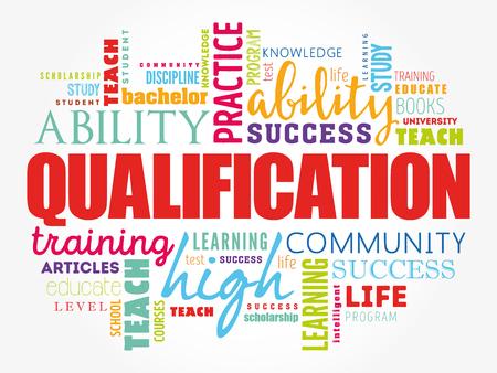 Nuage de mot de qualification, fond de concept d'entreprise éducation