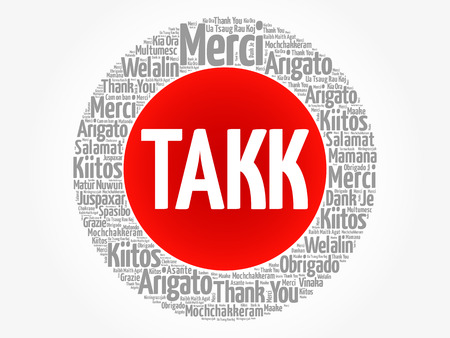 Takk (Thank You in Icelandic) Word Cloud in different languages, concept background