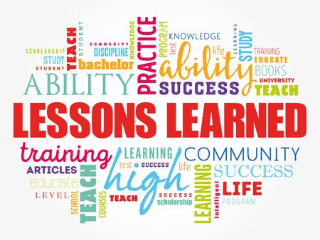 Lecciones aprendidas palabra nube collage, fondo del concepto de educación Ilustración de vector