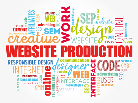 Website production process word cloud, technology concept background Stock Vector - 123359066