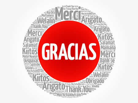 Gracias (Thank You in Spanish) word cloud in different languages, concept background Ilustração