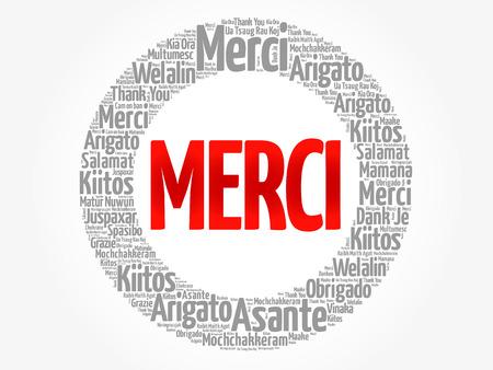 Merci (Danke auf Französisch) Wortwolke in verschiedenen Sprachen