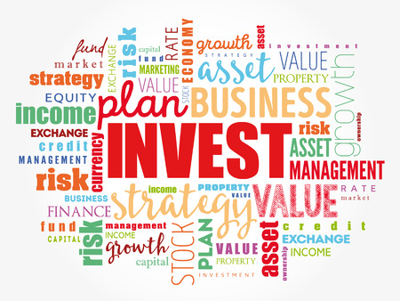 Invest word cloud collage, business concept background