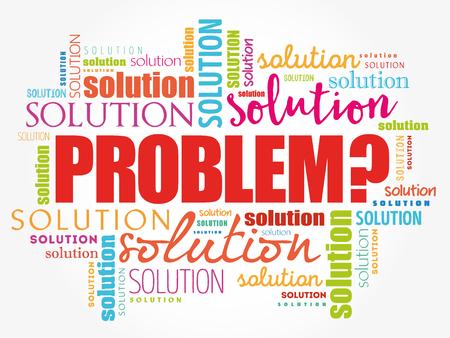 Collage de nuage de mots de problème et de solution, fond de concept d'entreprise Vecteurs