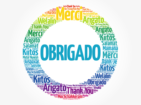 Obrigado (Thank You in Portuguese) Word Cloud in different languages, concept background