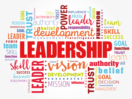 LEADERSHIP word cloud collage, business concept background Ilustrace