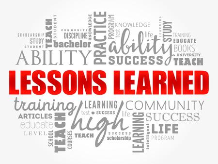 Leçons apprises collage de nuage de mots, fond de concept de l'éducation Vecteurs