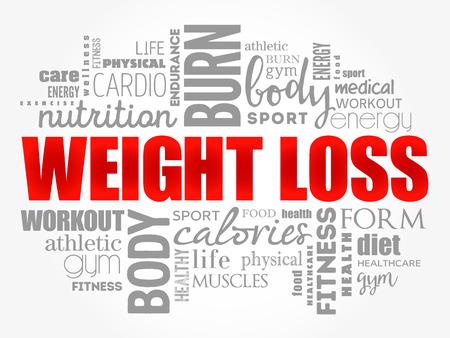 Collage della nuvola di parola di perdita di peso, fondo di concetto di salute