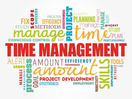 Collage de nube de word de gestión del tiempo, fondo del concepto de negocio
