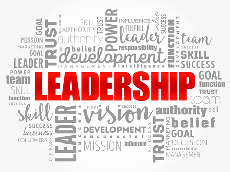 LEADERSHIP word cloud collage, business concept background Çizim
