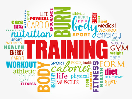 TRAINING word cloud collage, education concept background Foto de archivo - 123359131