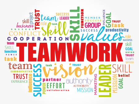 TEAMWORK word cloud collage, business concept background Vettoriali