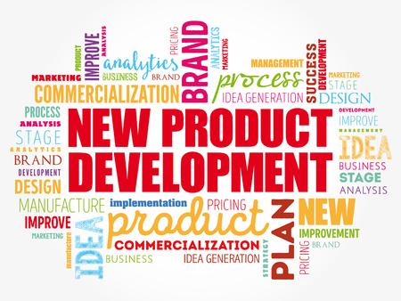 Collage de nuage de mots de développement de nouveaux produits, fond de concept d'entreprise