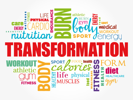 TRANSFORMATION word cloud, fitness, sport, health concept Çizim