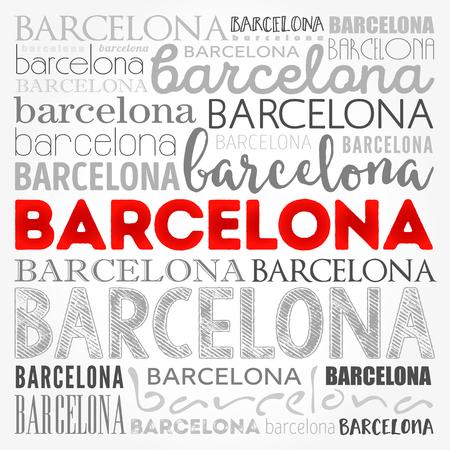 Barcelona wallpaper word cloud, travel concept background