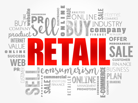 Retail word cloud collage, business concept background